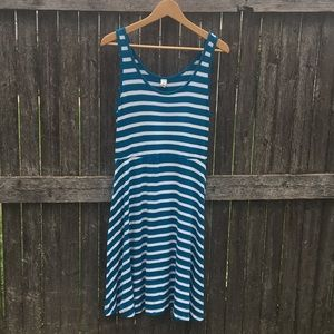 Old Navy Tank Dress Striped Turquoise Blue